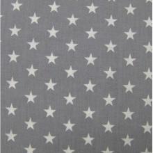 Coton léger étoile blanches fond gris